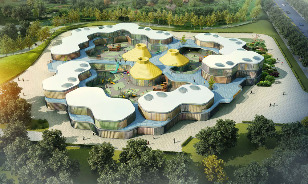 Modern classroom design - Guan Kindergarten Wax Architects